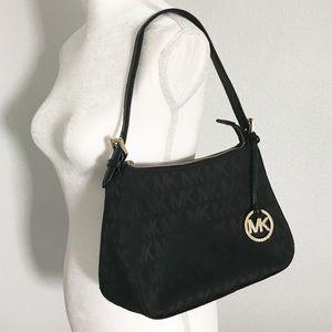 Michael Kors Signature print purse black and gold